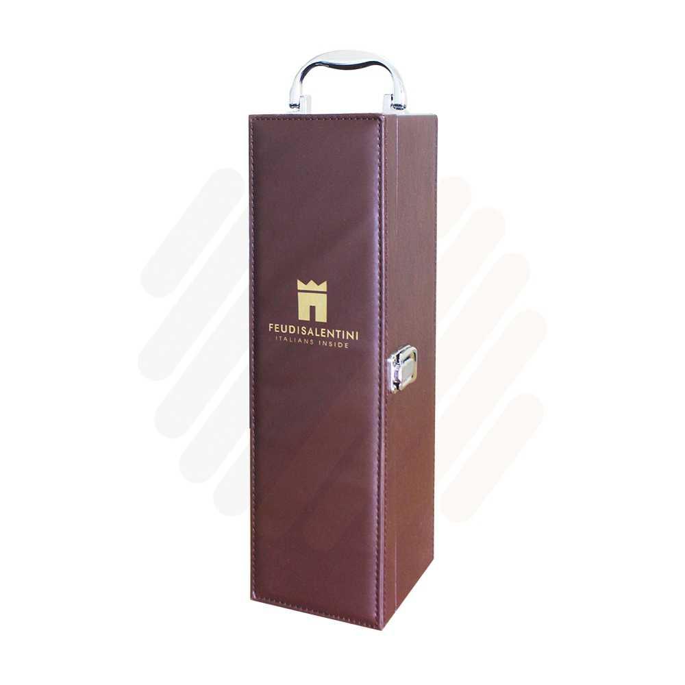 Hộp rượu da Feudi nâu 1 chai