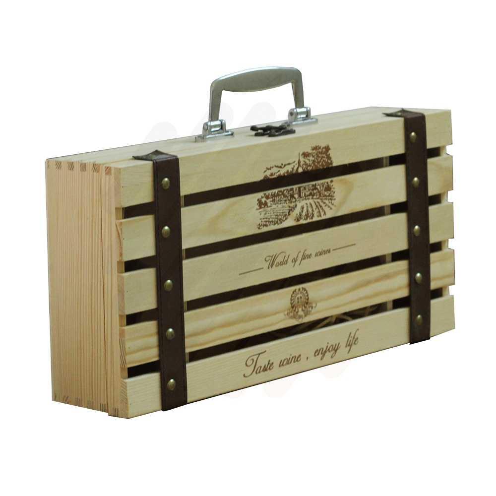 Hộp rượu gỗ LB004 gỗ nan