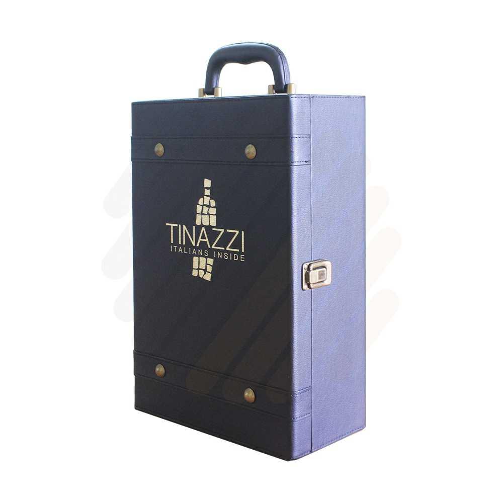 Hộp rượu da Tinazzi đen 2c